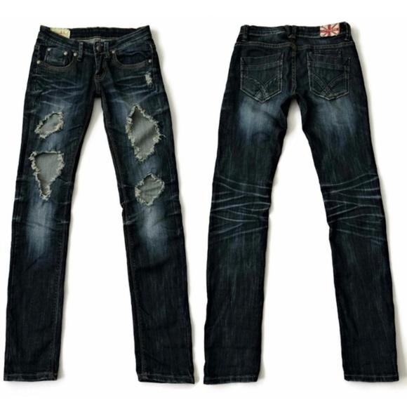 Machine Denim - Machine Jeans Skinny Distressed Ripped Blue Denim